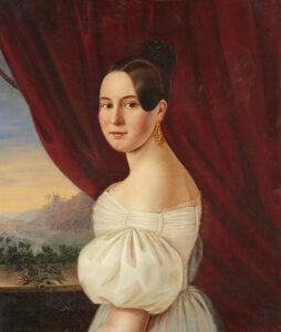 Adeline Jaeger: Bildnis einer Dame vor Weinbergen, 1836