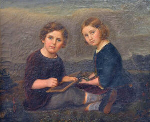 Adeline Jaeger: Doppelporträt ihrer Kinder Fritz und Clara, 1848